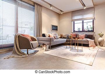 内部, アパート, 広い, 灰色