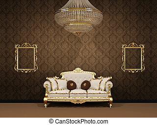 内部, アパート, 皇族, 贅沢, スペース