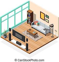 内部, アパート, 部屋, モデル