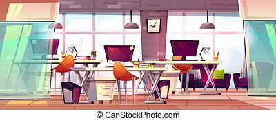 内部, オフィス, ベクトル, ワークスペース, イラスト