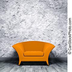 内部, オレンジ, 肘掛け椅子