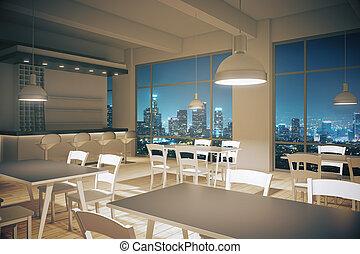 内部, カフェ, デザイン