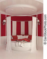 内部, カーテン, 現代, ラウンド, ベッド