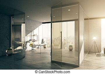 内部, ガラス ドア, オフィス