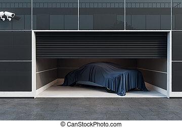 内部, ガレージ, 現代, 自動車