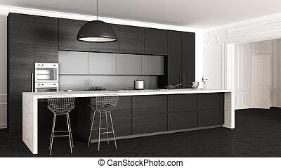 内部, クラシック, デザイン, minimalistic, 台所