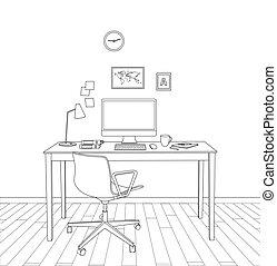 内部, スケッチ, 現代, オフィス