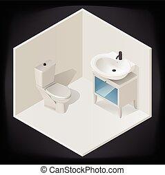内部, トイレ, 等大, ベクトル, 部屋