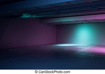 内部, バックライト, 部屋, 現代, 色