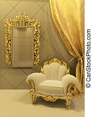 内部, バロック式, 家具, 贅沢