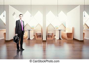 内部, ビジネスマン, カフェ