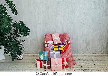 内部, ピンク, 椅子, 部屋, 灰色, 植物, 家