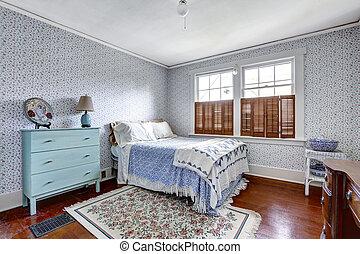 内部, ファッション, 古い, 寝室