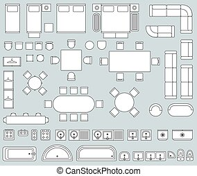 内部, ベクトル, 光景, 上, 家具, 線, アイコン, セット