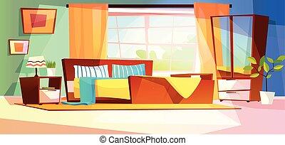 内部, ベクトル, 部屋, イラスト, 寝室