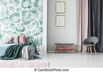 内部, ポスター, 緑, 寝室