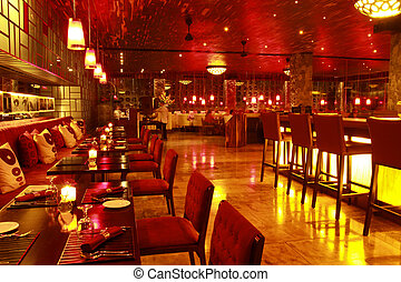 内部, レストラン, 夜