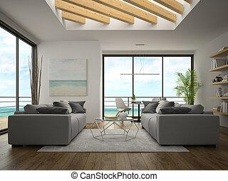 内部, レンダリング, デザイン, 部屋, 海の 眺め, 現代, 3d