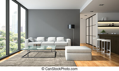 内部, レンダリング, デザイン, 黒, 屋根裏, lampl, 現代, 3d