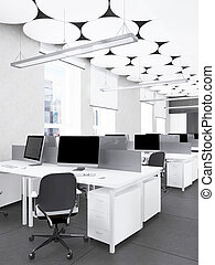 内部, レンダリング, 現代, オフィス