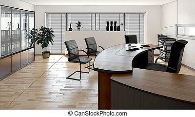 内部, レンダリング, 現代, オフィス, 3d