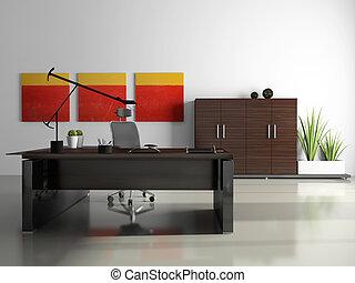 内部, レンダリング, 私用オフィス, 3d