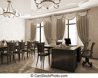 内部, レンダリング, 3d, オフィス, モノクローム