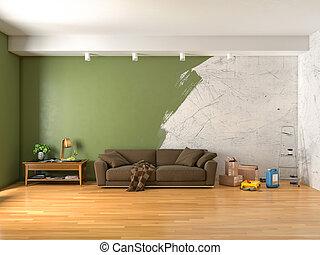 内部, 修理, 部屋, イラスト, 3d