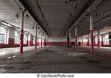 内部, 倉庫, 産業, 古い, 空