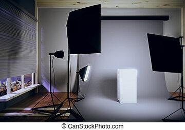 内部, 写真の スタジオ, 夜で, ∥で∥, a, 白, 台座
