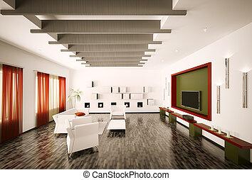 内部, 反響室, render, 3d