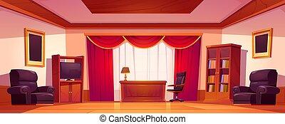 内部, 古い, 家具, オフィス, 贅沢, 木製である