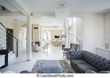 内部, 在中, 奢侈, 公寓