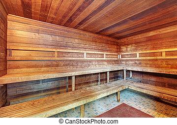 内部, 在中, 木制, sauna.