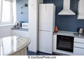 内部, 在中, 现代, 厨房, 在中, a, 广阔, 公寓