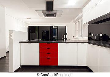 内部, 在中, 现代, 奢侈, 厨房