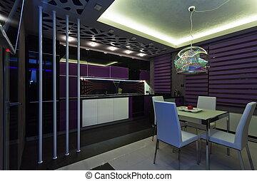 内部, 在中, a, 奢侈, 厨房