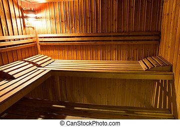 内部, 在中, a, 木制的床, 在中, a, 家, 桑拿浴