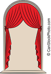 内部, 型, curtain.