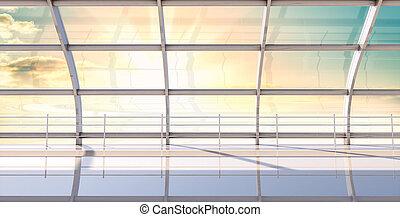 内部, 大きい, 窓, 現代, ホール