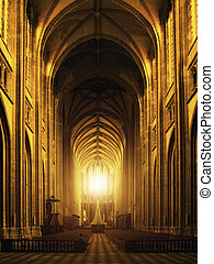 内部, 大聖堂, gothic, orleans