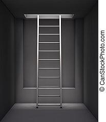 内部, 天井, 穴, はしご, 灰色
