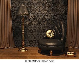 内部, 家具, スタイルを作られる, 古い, 贅沢