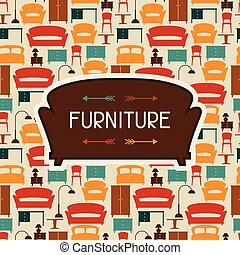 内部, 家具, レトロ, 背景, style.