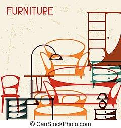 内部, 家具, retro, 背景, style.