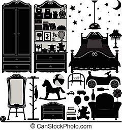 内部, 家, デザイン, 部屋, 寝室