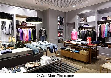 内部, 布, ブランド, 店, 新しい