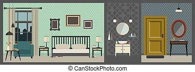 内部, 平ら, ホテルの部屋, style.