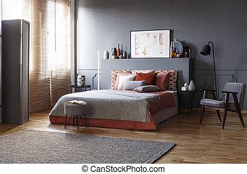 内部, 広い, 灰色, 寝室