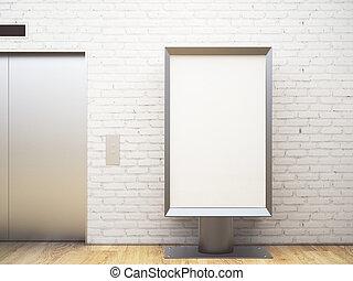 内部, 広告板, れんが, 白